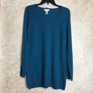 Size Large Womens Blue Tunic Length Sweater